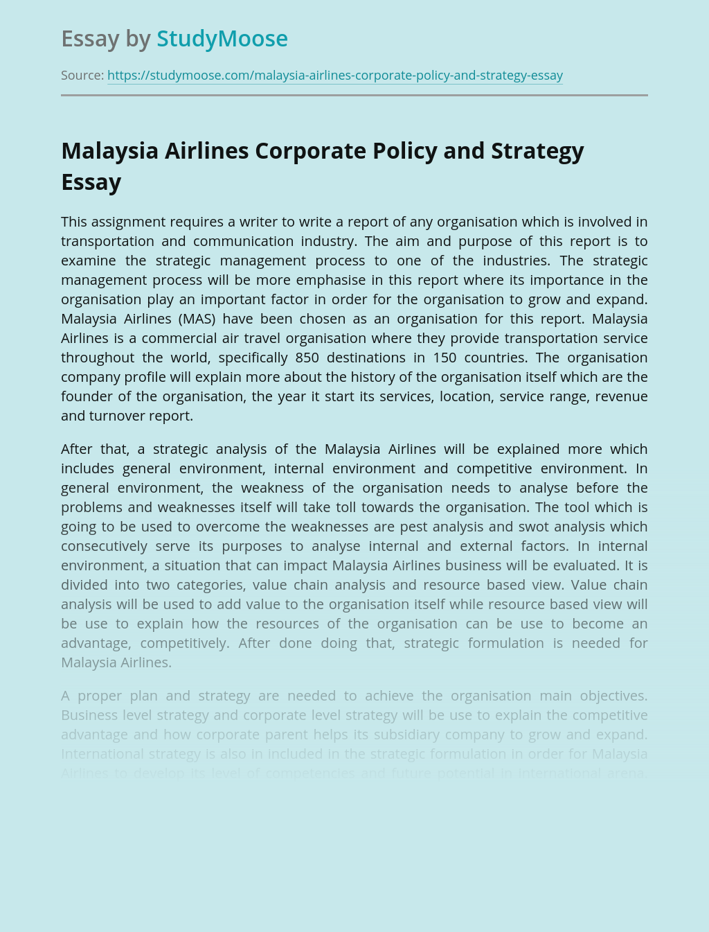 Malaysia Airlines Corporate Policy and Strategy
