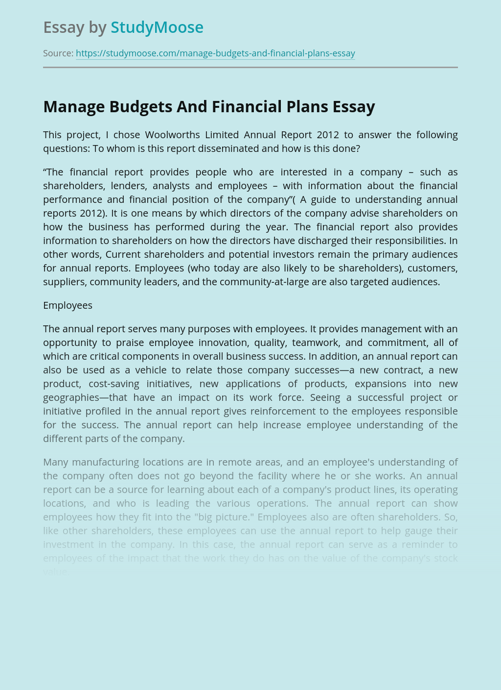 Budget Management And Financial Plans