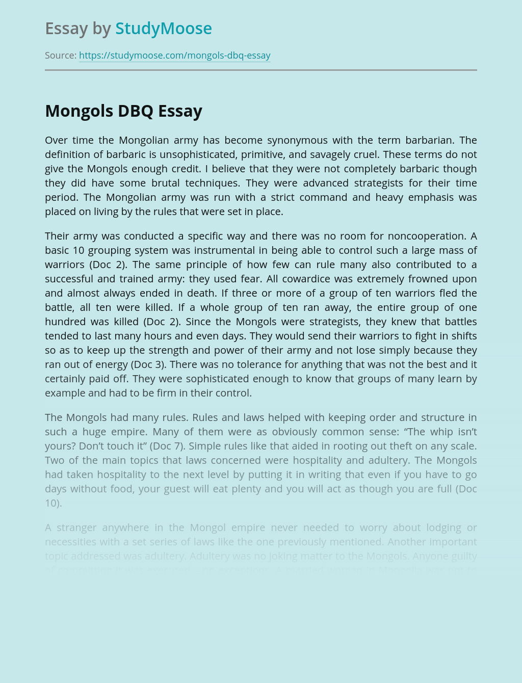 Mongols: Culture and History