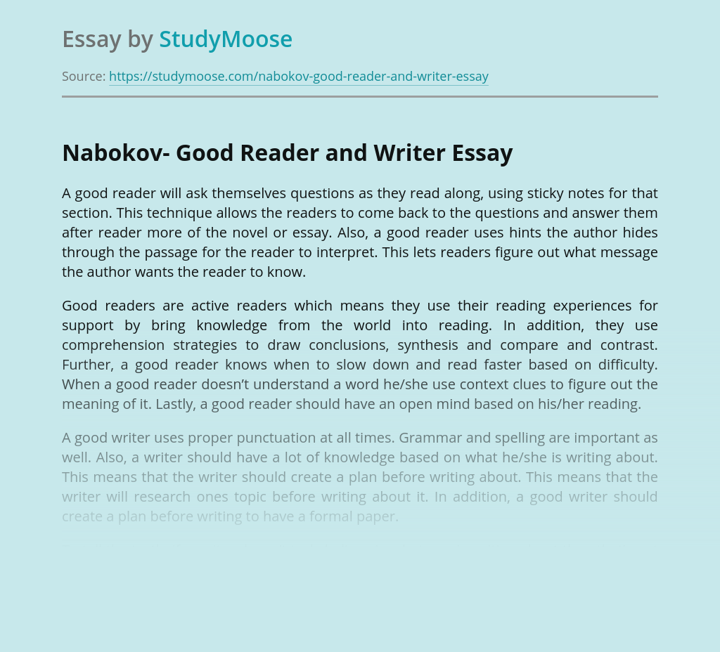 Nabokov- Good Reader and Writer