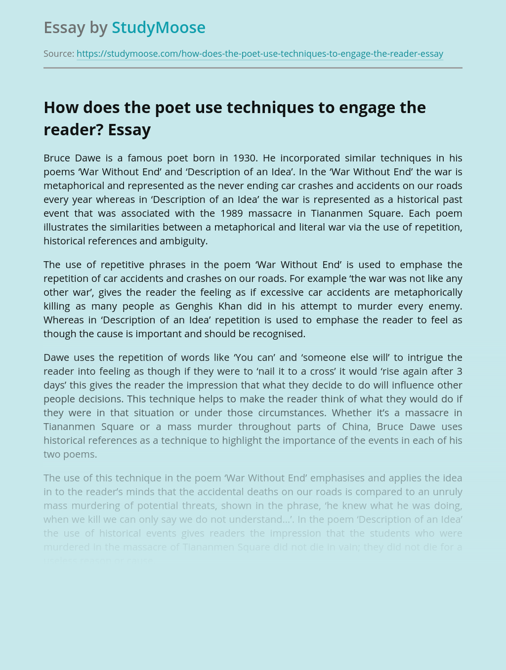How Does the Poet Use Techniques to Engage the Reader?