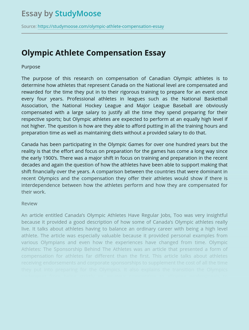 Olympic Athlete Compensation
