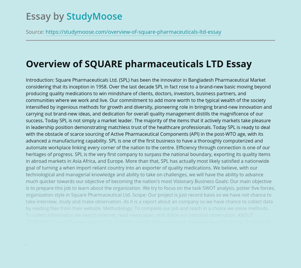 Overview of SQUARE pharmaceuticals LTD