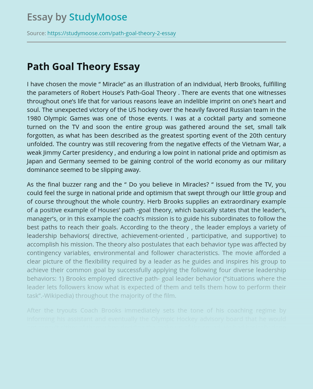 "The Movie ""Miracle"" and Path Goal Theory"