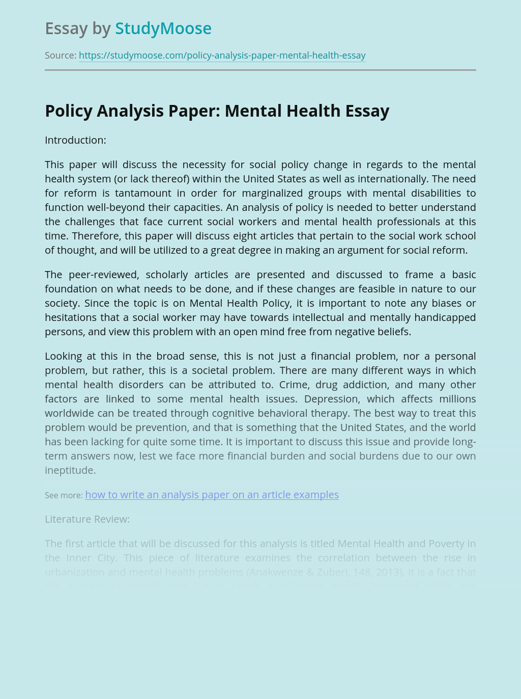 Policy Analysis Paper: Mental Health