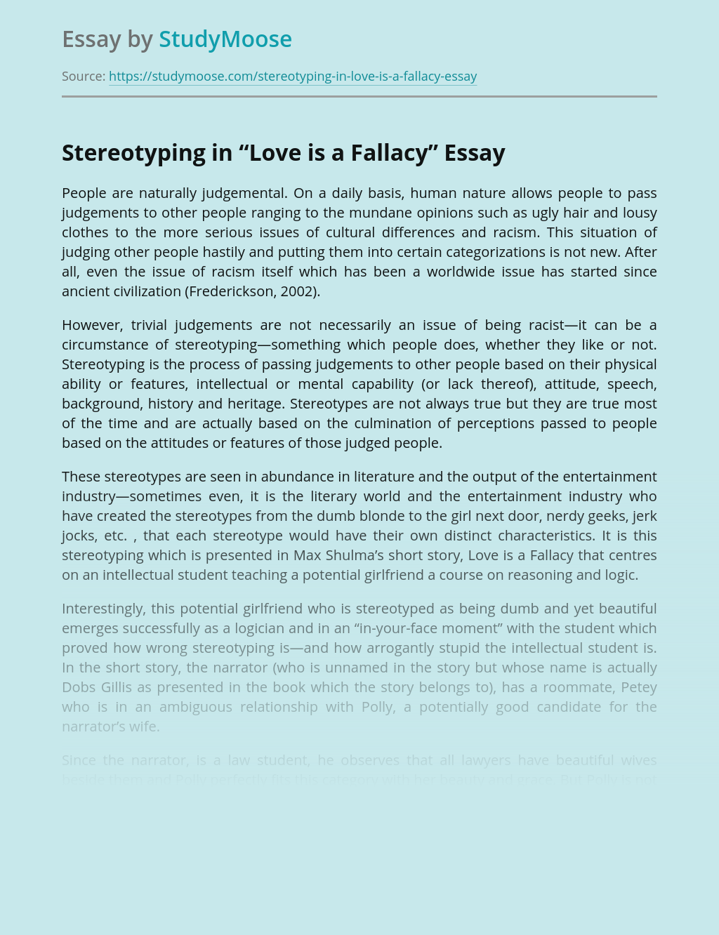 Stereotyping in Short Story Love is a Fallacy