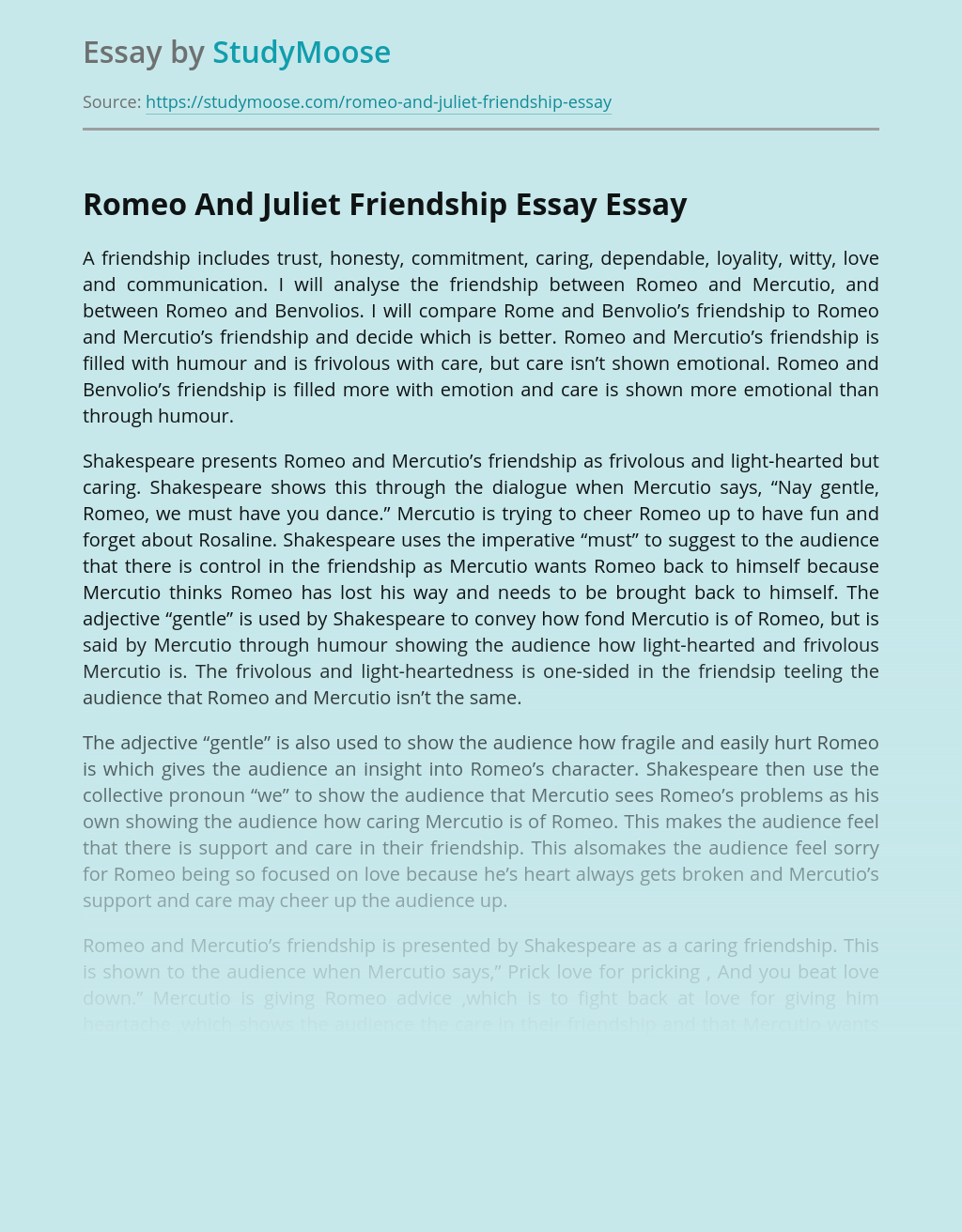 Romeo And Juliet Friendship Essay