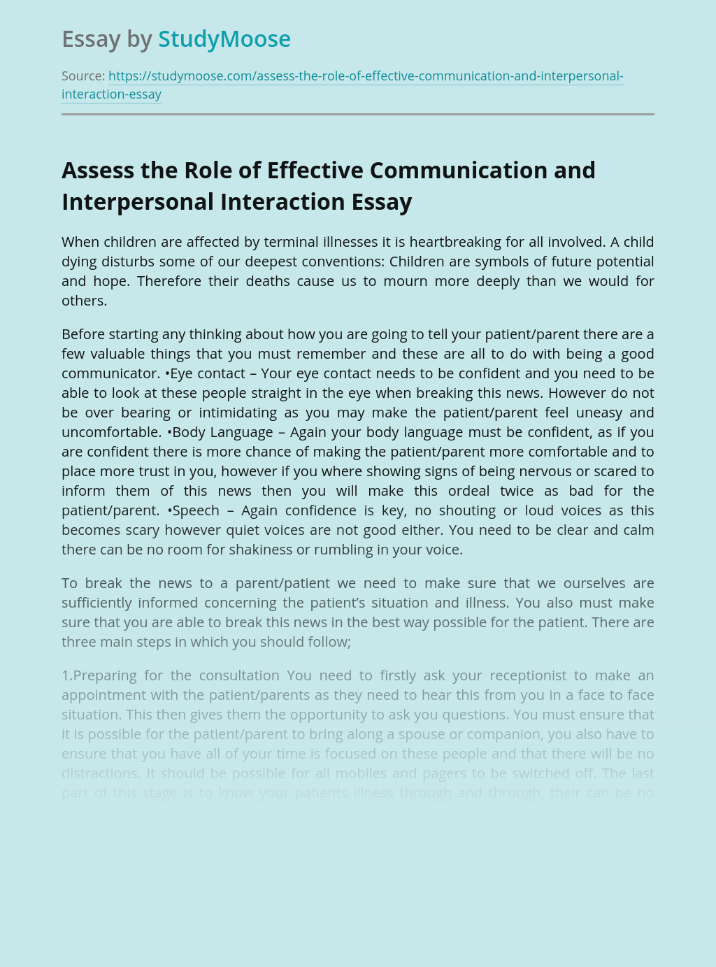 Assess the Role of Effective Communication and Interpersonal Interaction