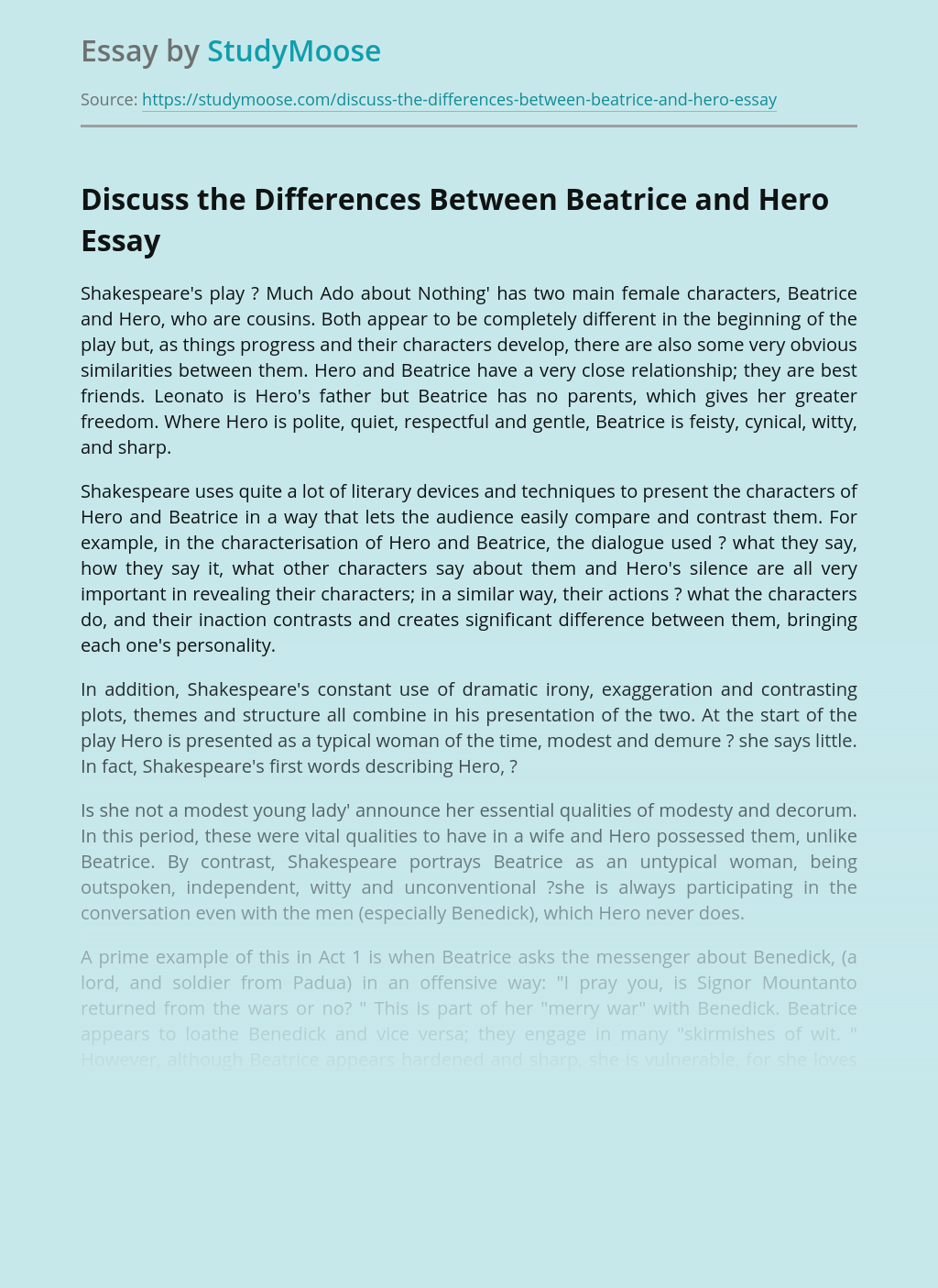 Discuss the Differences Between Beatrice and Hero