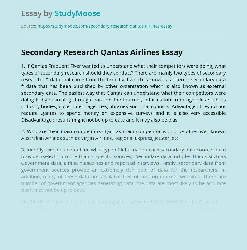 Secondary Research Qantas Airlines