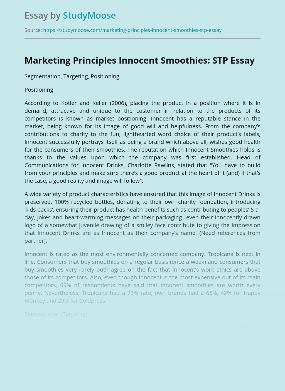Marketing Principles Innocent Smoothies: STP