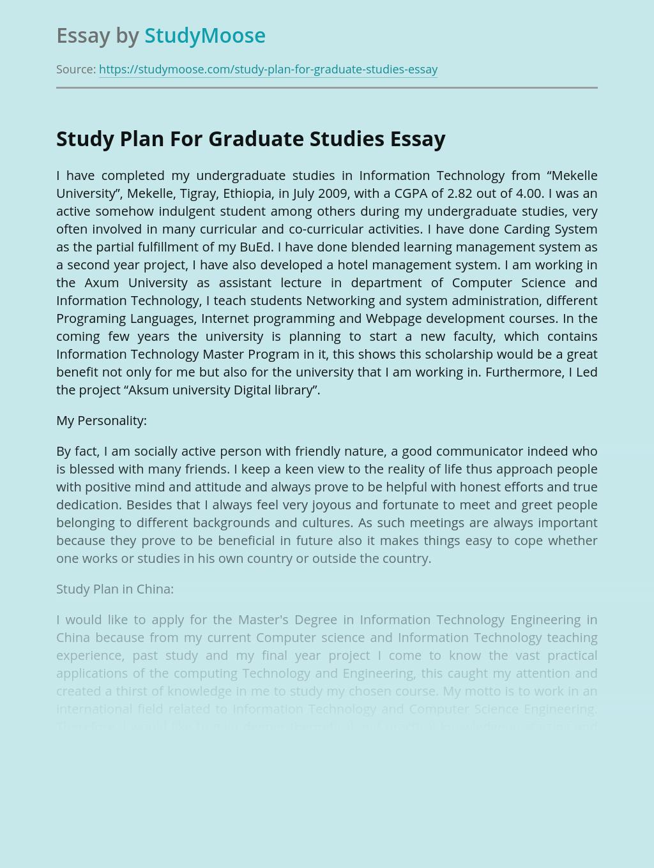 Study Plan For Graduate Studies