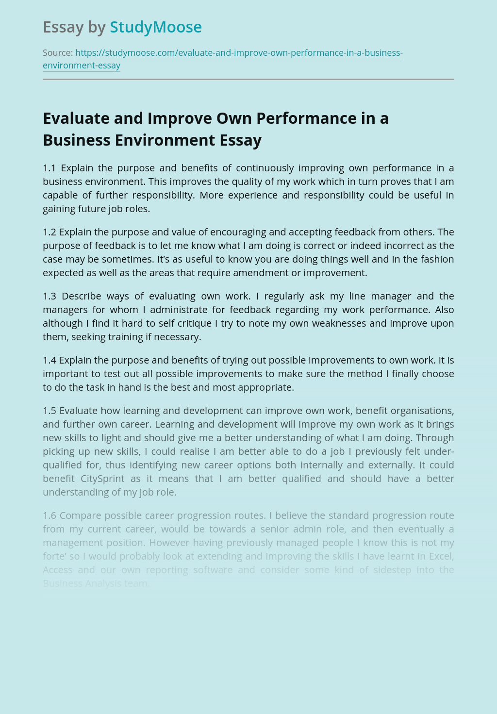 Evaluate and Improve Own Performance in a Business Environment