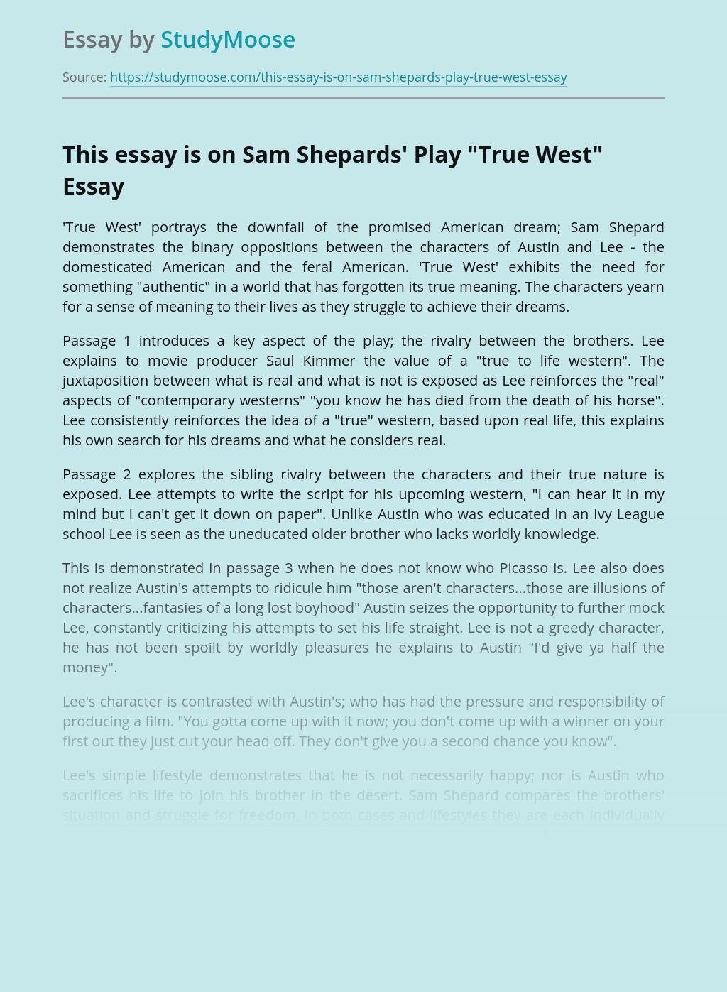 """This essay is on Sam Shepards' Play """"True West"""""""