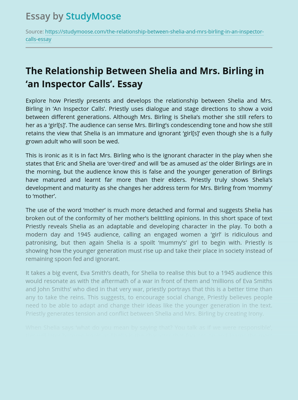 The Relationship Between Shelia and Mrs. Birling in 'an Inspector Calls'.