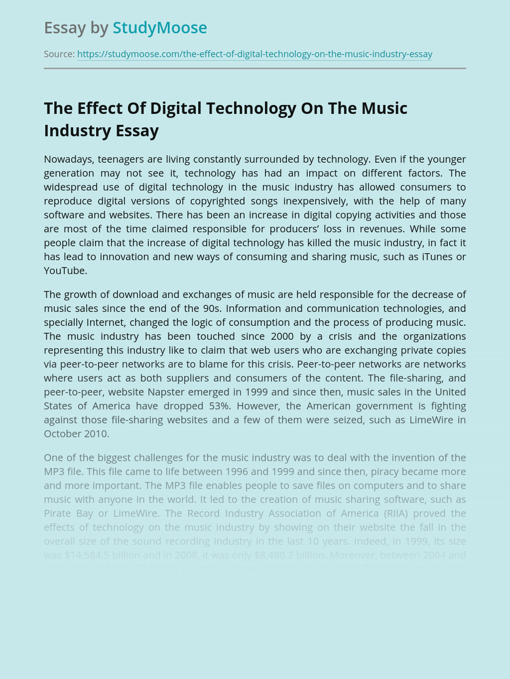The Effect Of Digital Technology On The Music Industry