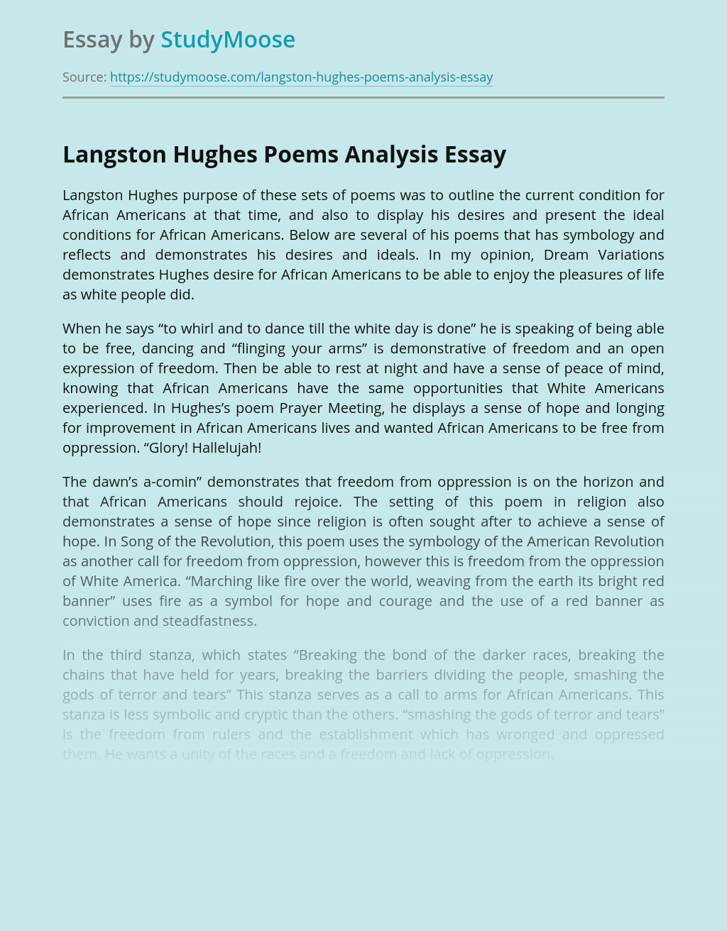 Langston Hughes Poems Analysis