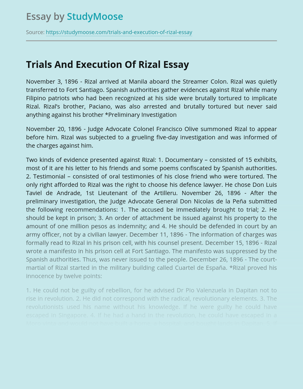 Trials And Execution Of Great Leader Rizal