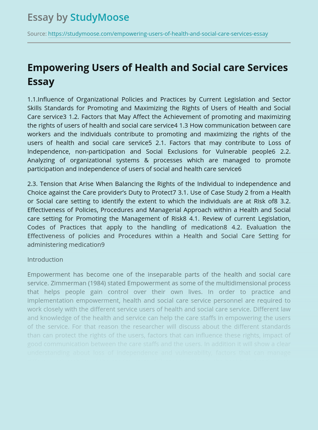 Empowering Users of Health and Social care Services