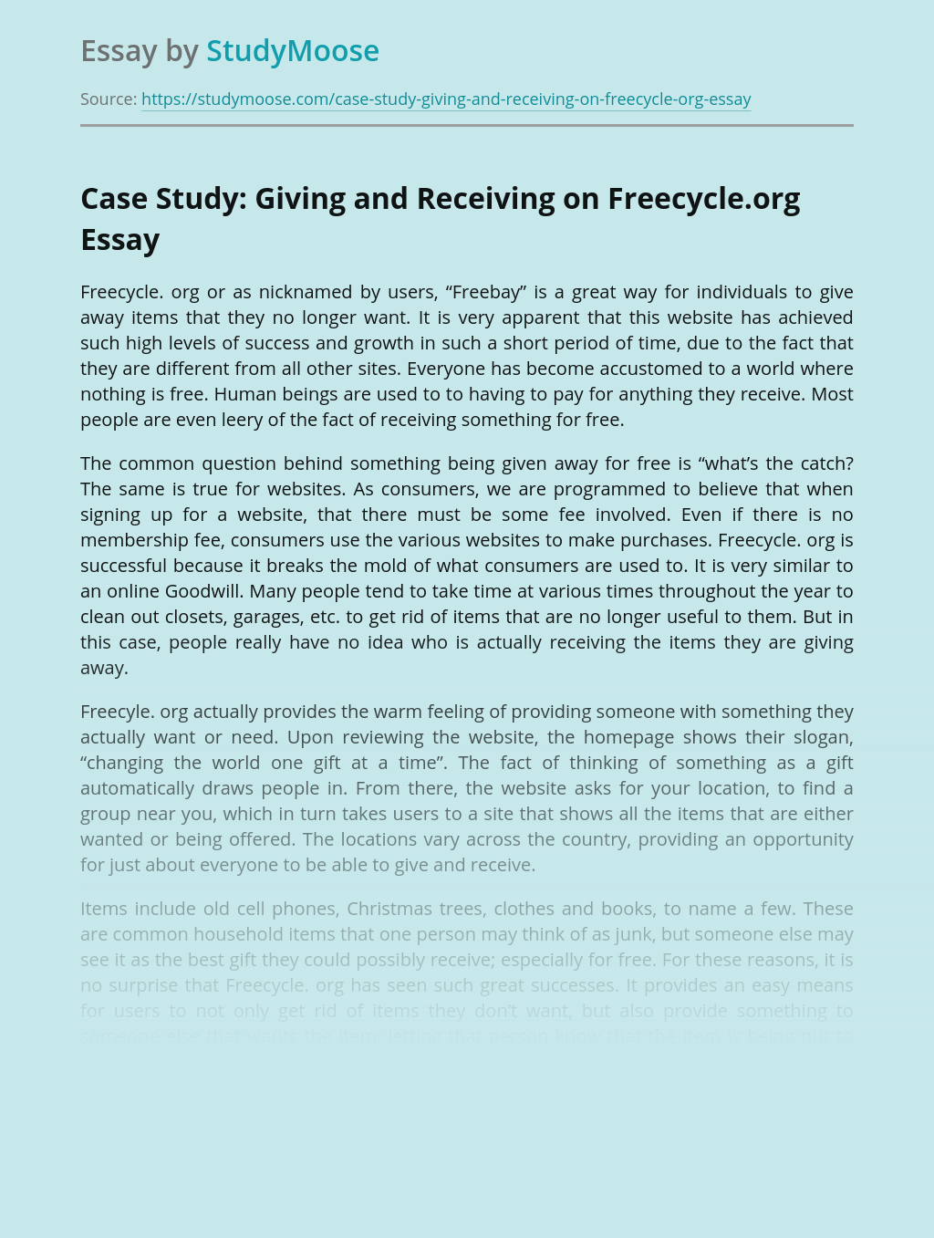 Case Study: Giving and Receiving on Freecycle.org
