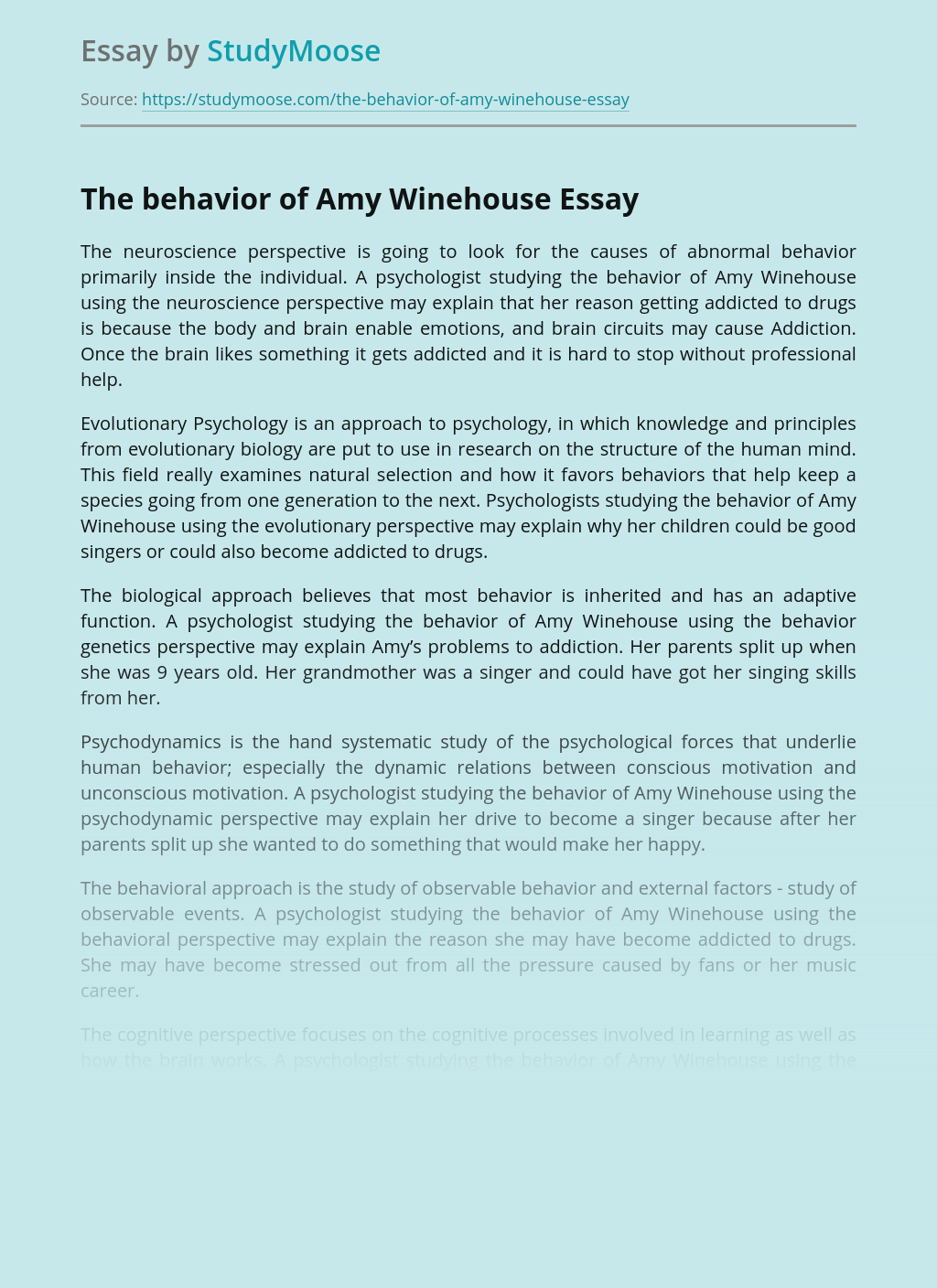 The behavior of Amy Winehouse