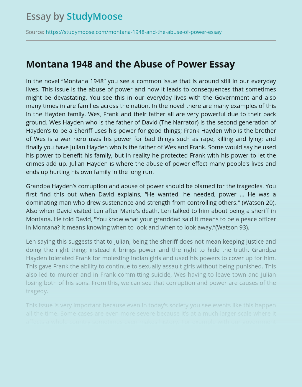 Montana 1948 and the Abuse of Power