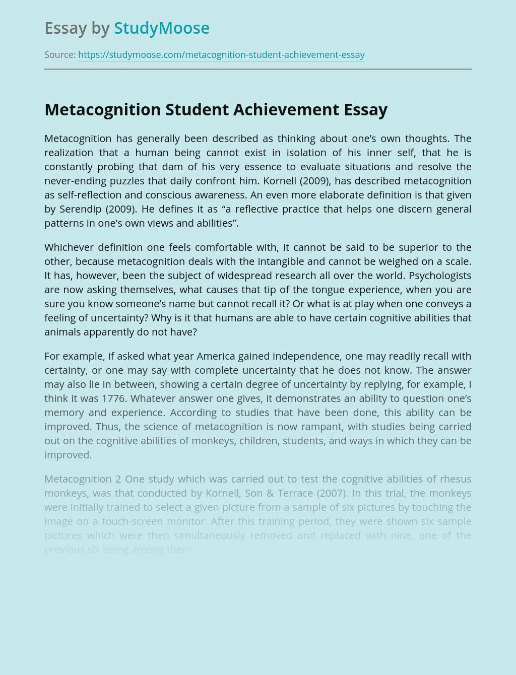 Metacognition Student Achievement