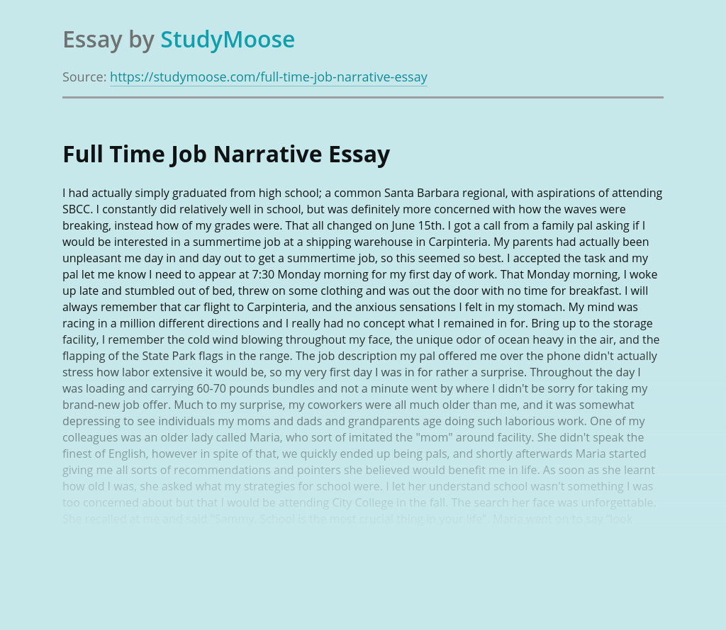 Full Time Job Narrative