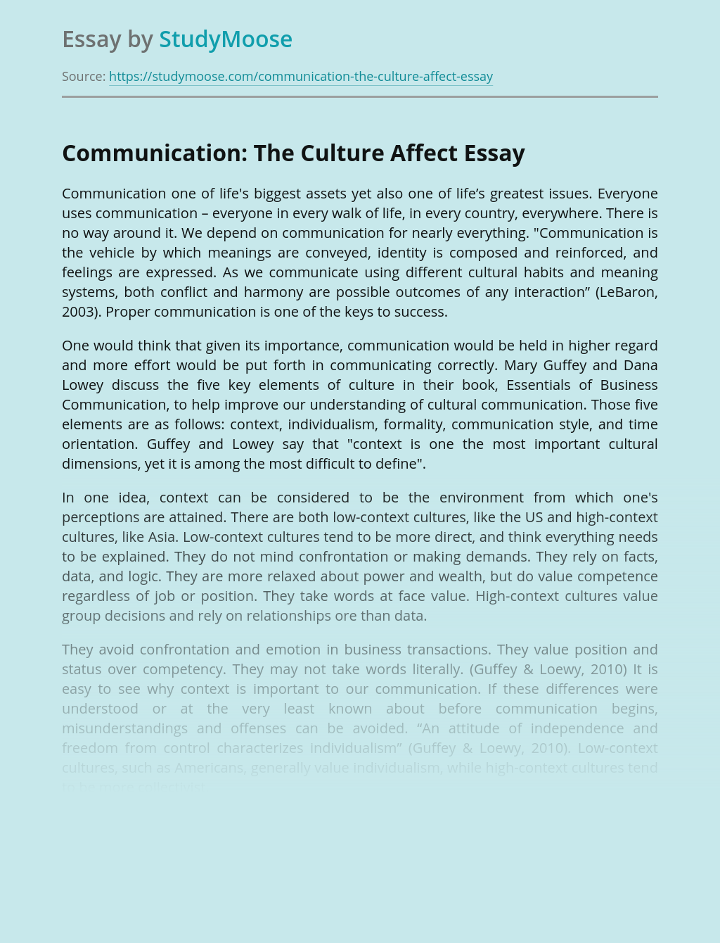Communication: The Culture Affect