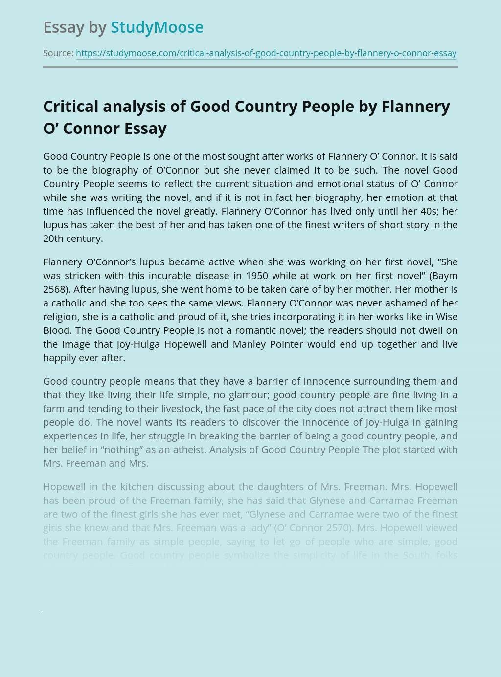 Critical analysis of Good Country People by Flannery O' Connor