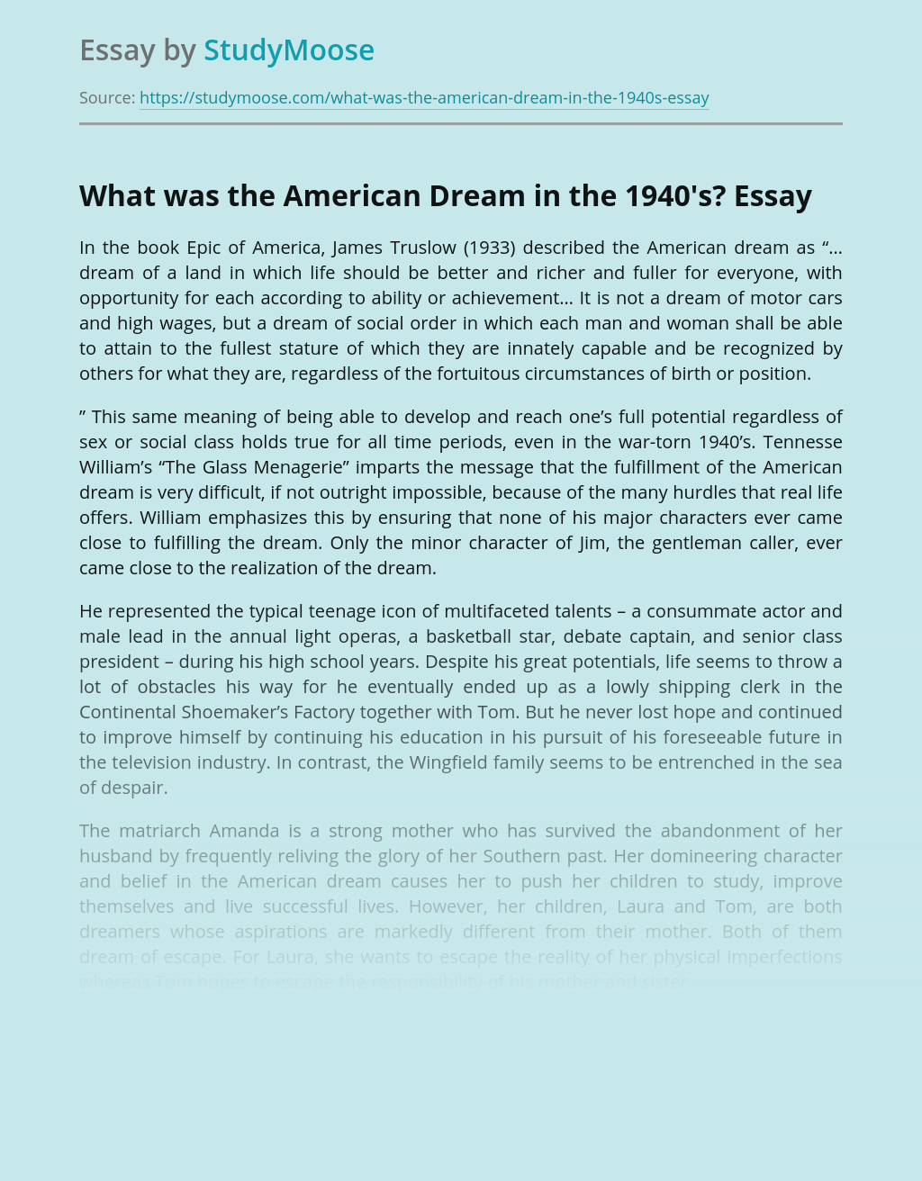 What was the American Dream in the 1940's?