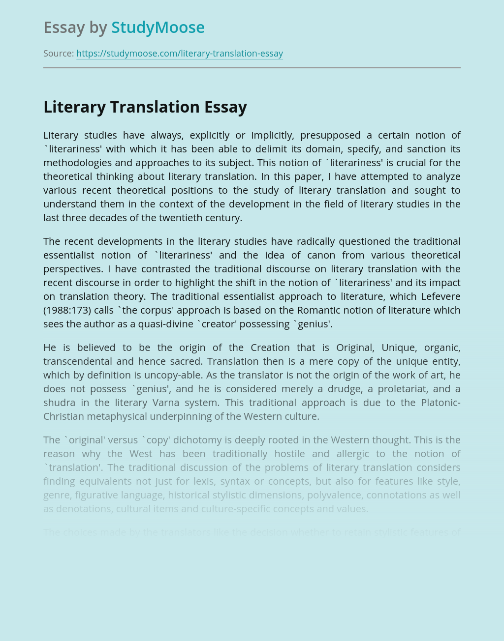 Literary Translation: Recent Theoretical Developments