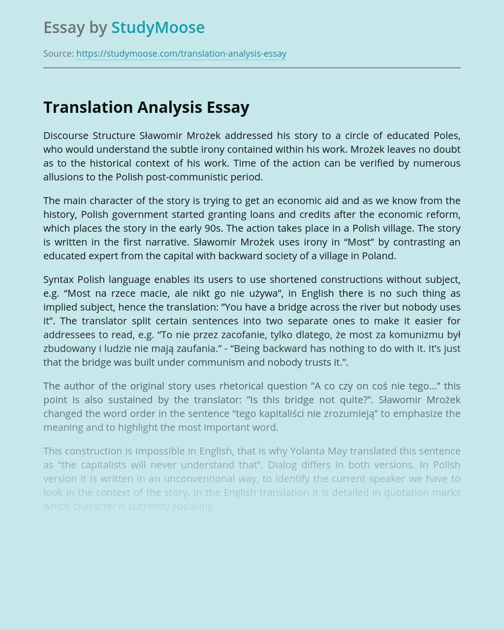 Translation Analysis of Language in Most