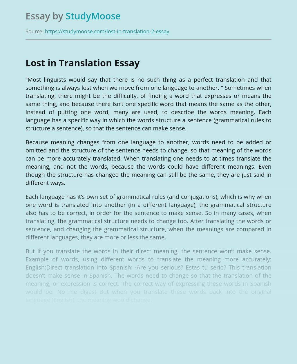 Lost in Translation - Linguistics