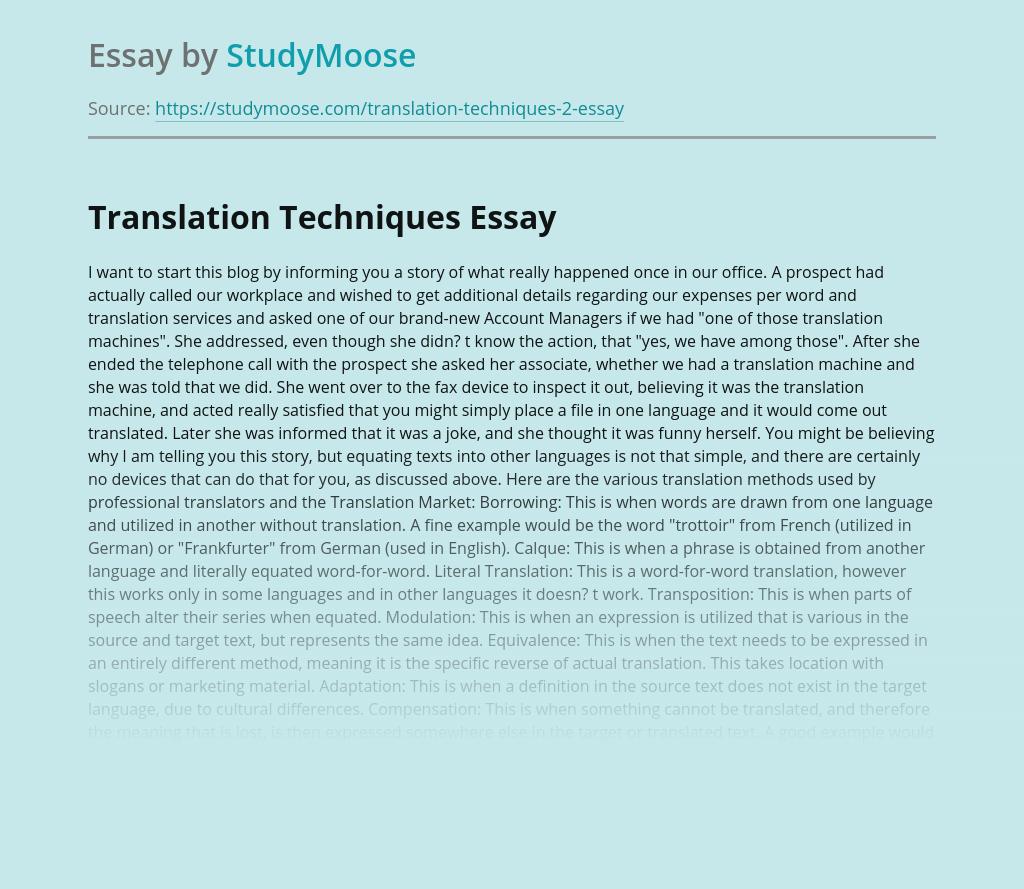 Translation Techniques Methods