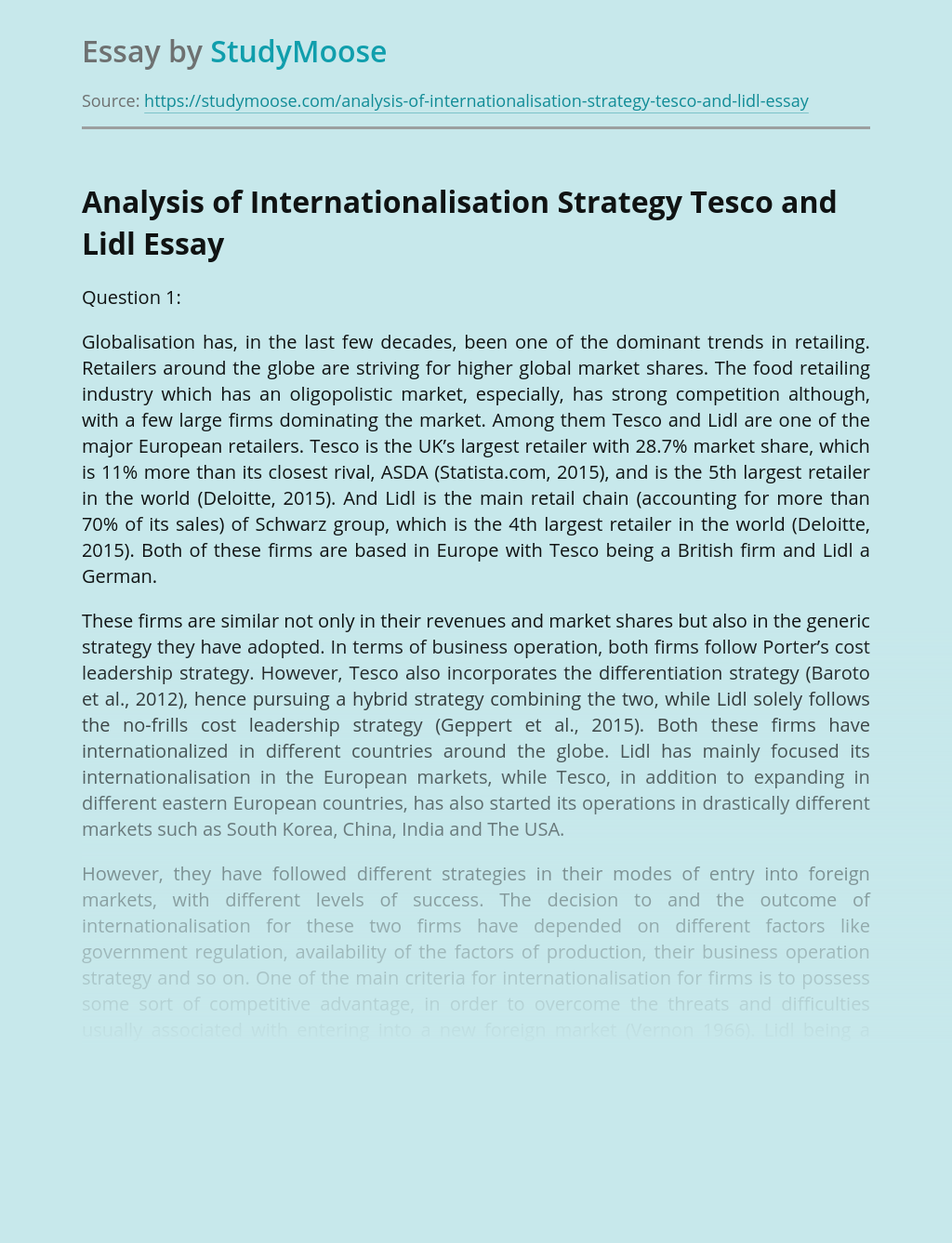 Analysis of Internationalisation Strategy Tesco and Lidl Brands