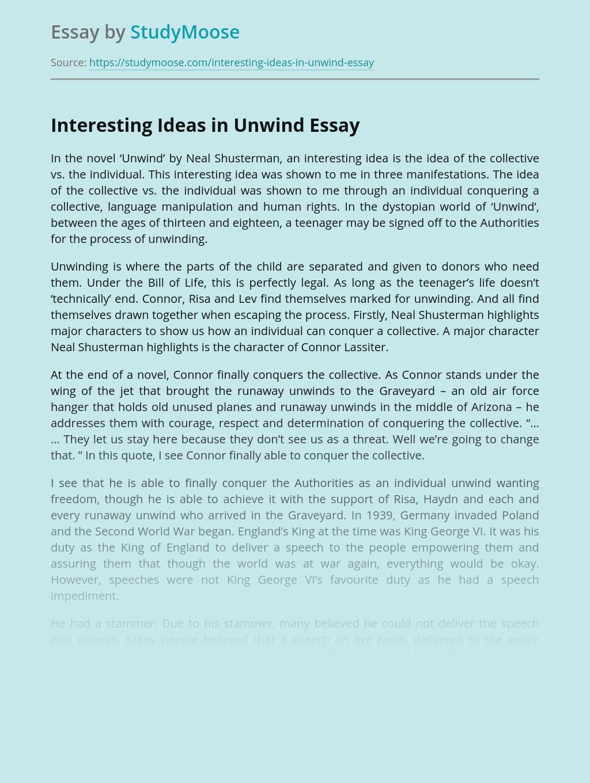 """Interesting Ideas in """"Unwind"""" by Neal Shusterman"""