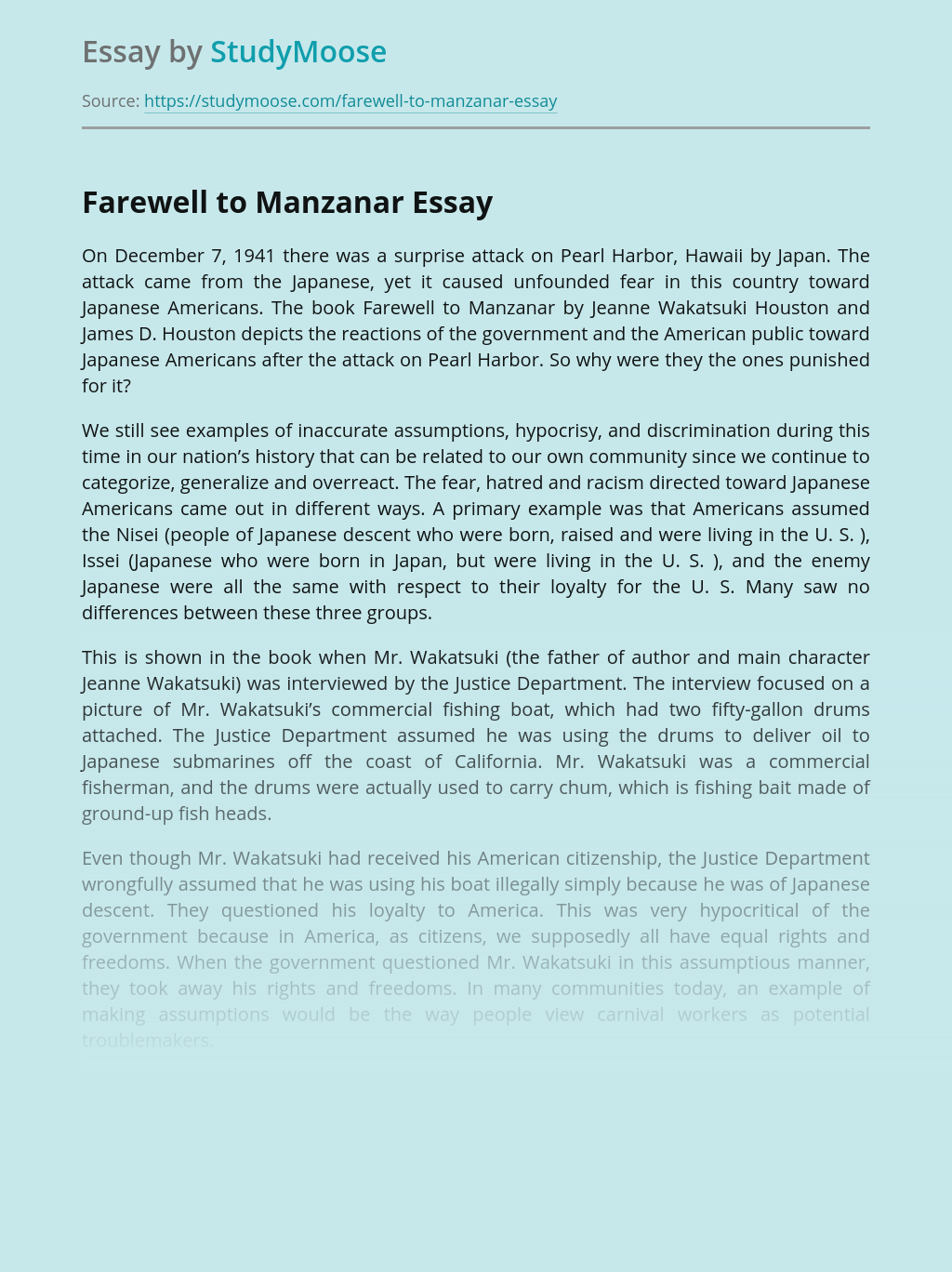 farewell to manzanar identity essay