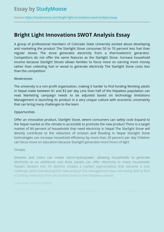 Bright Light Innovations SWOT Analysis