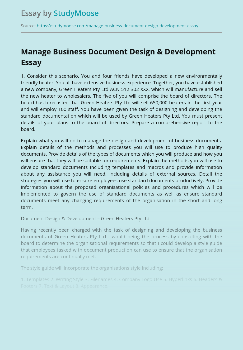 Manage Business Document Design & Development
