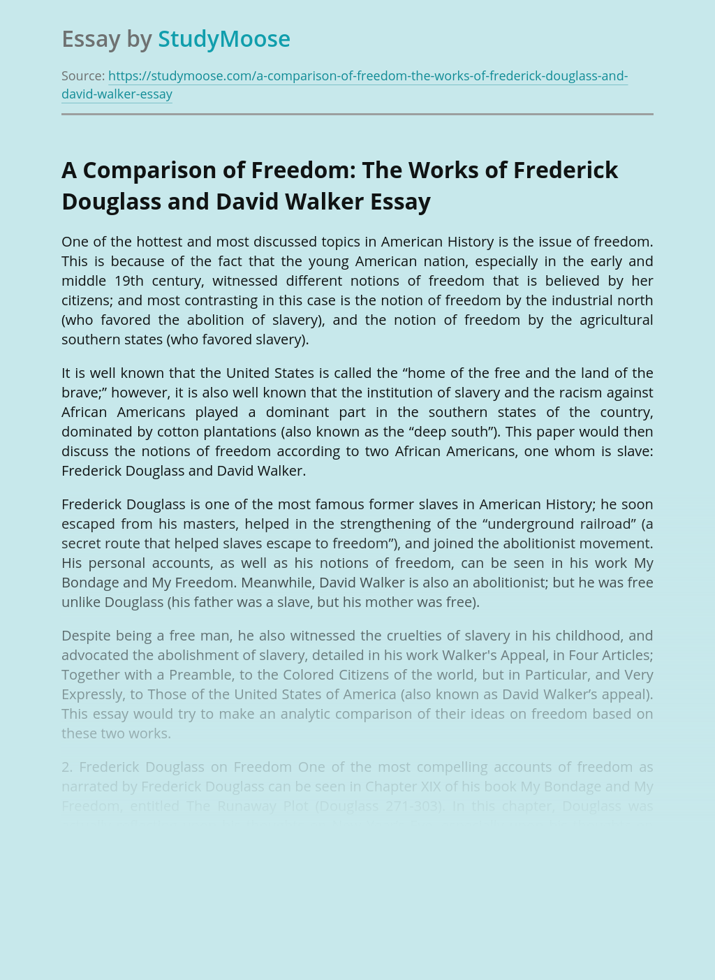 A Comparison of Freedom: The Works of Frederick Douglass and David Walker