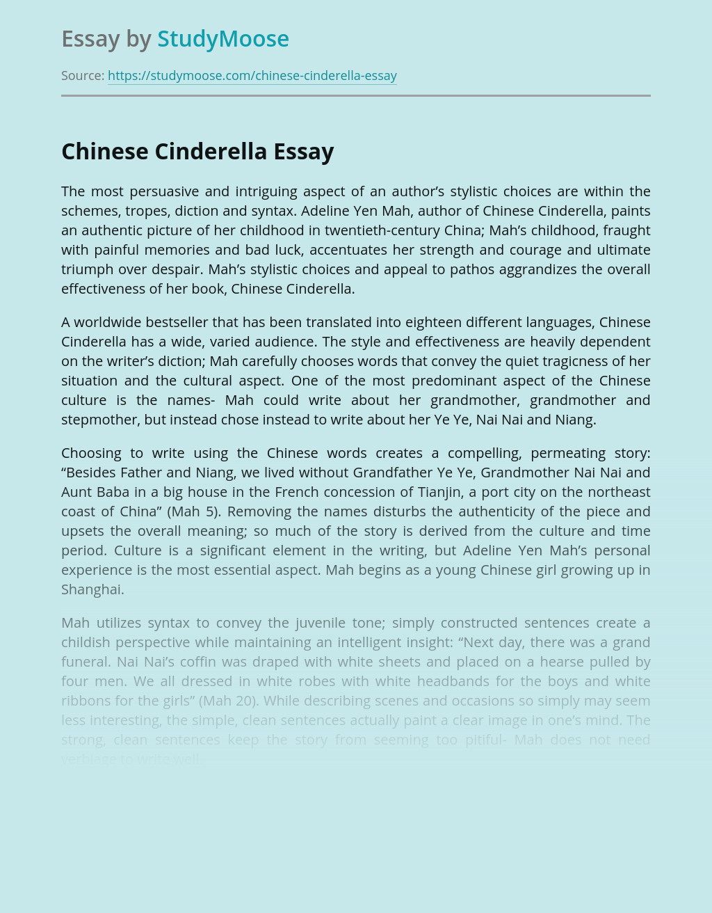 Chinese Cinderella by Adeline Yen Mah Book Review