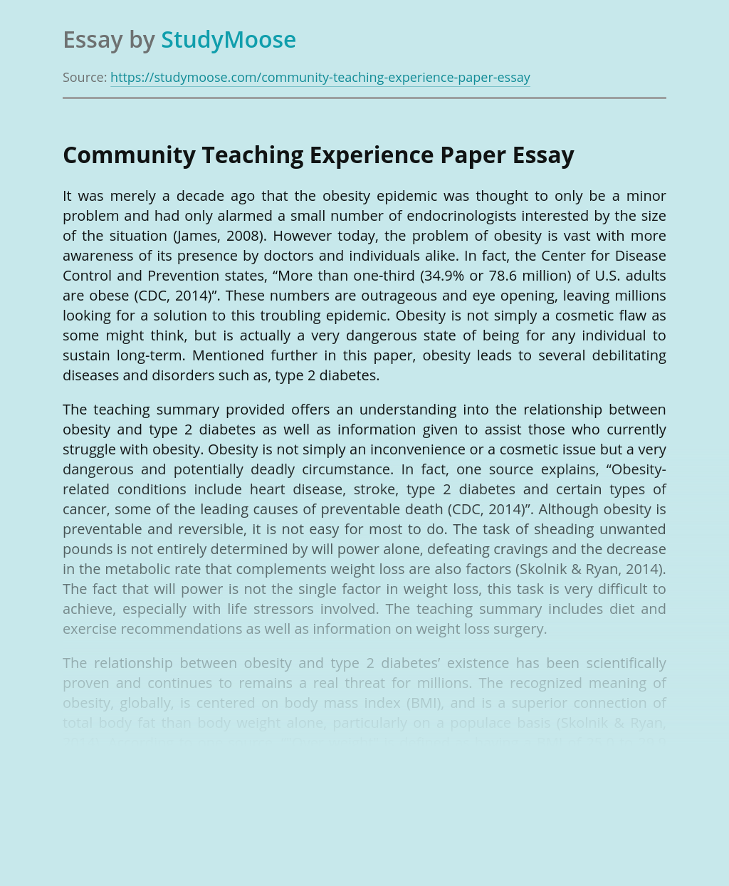 Community Teaching Experience Paper