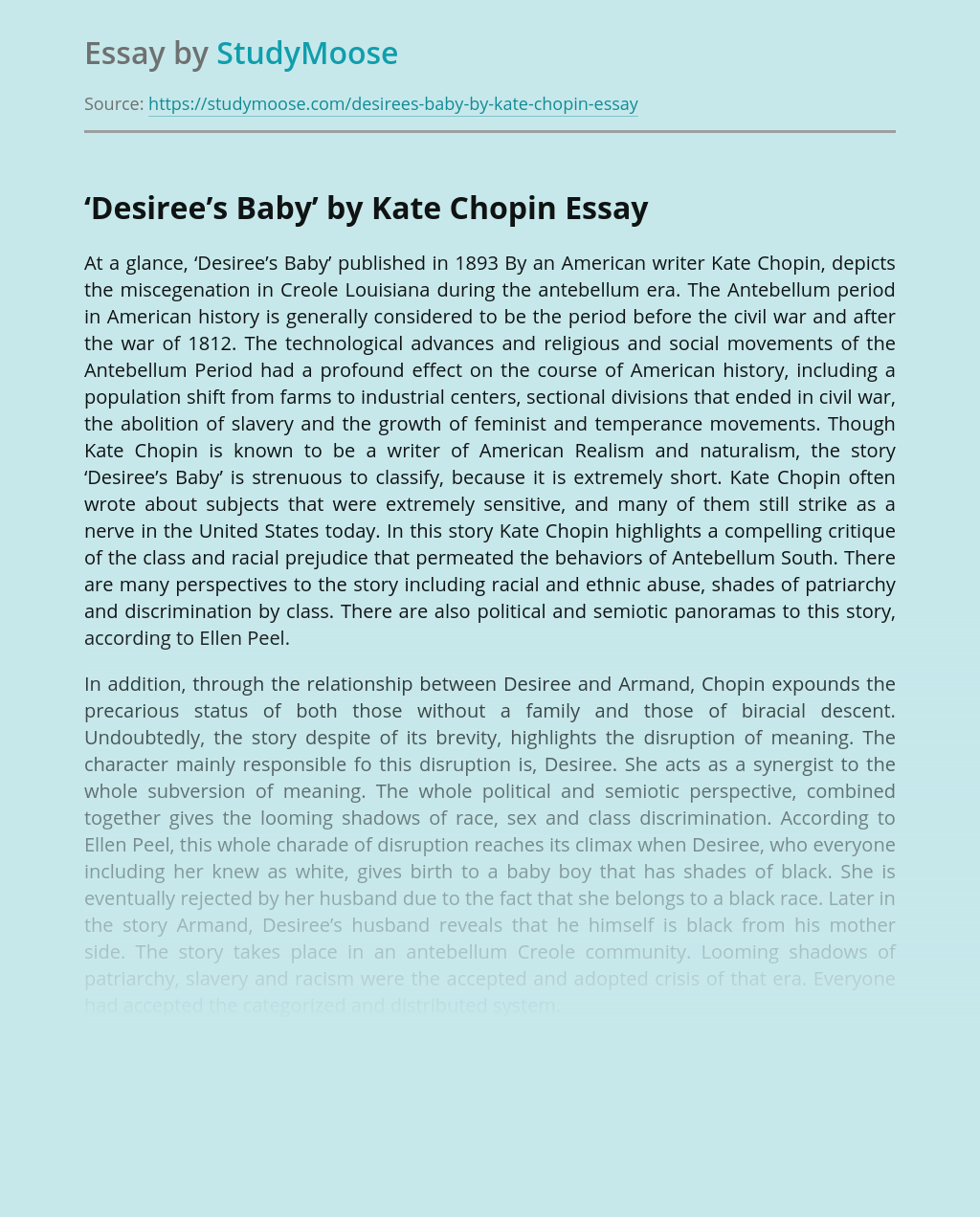 'Desiree's Baby' by Kate Chopin