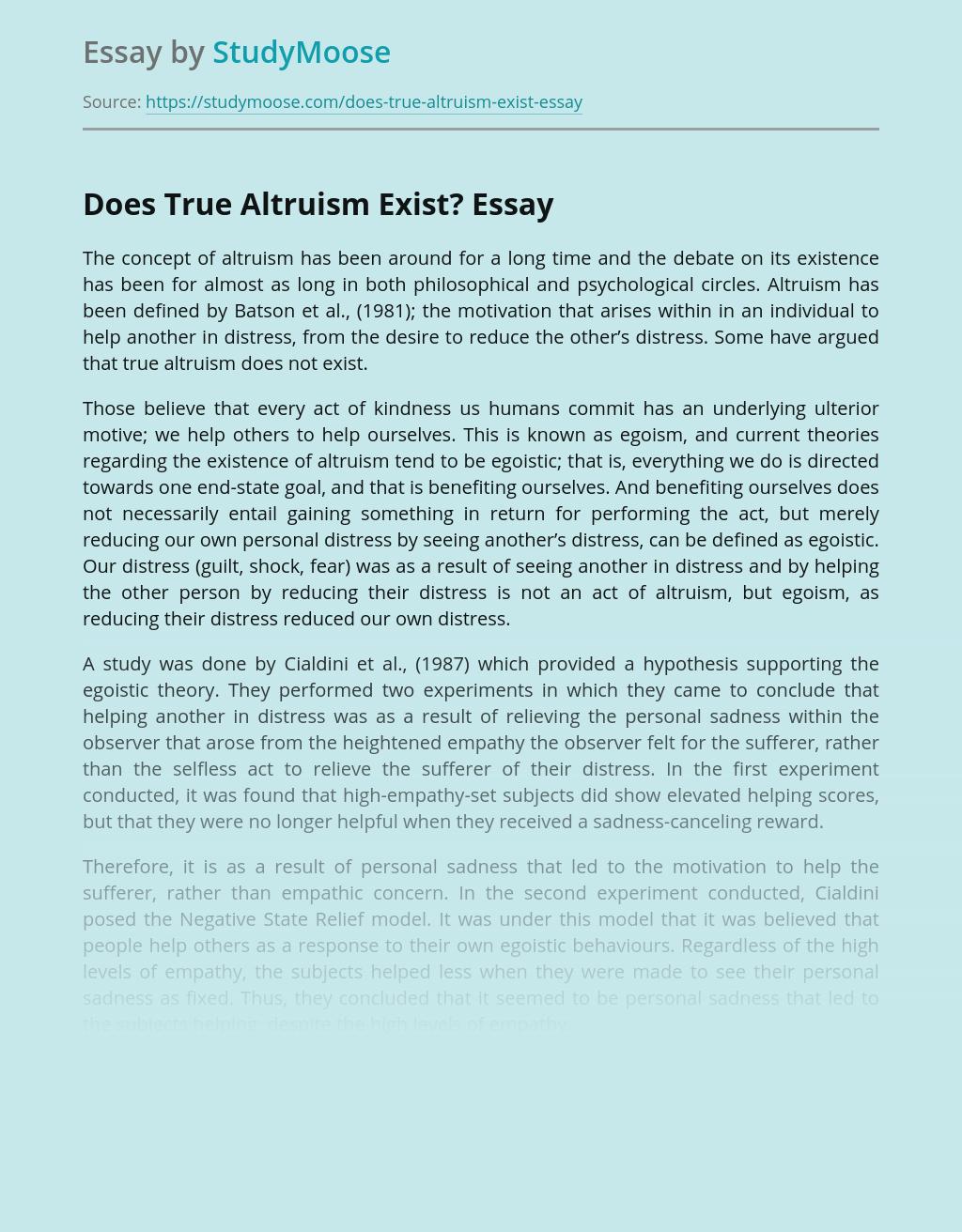 Does True Altruism Exist?