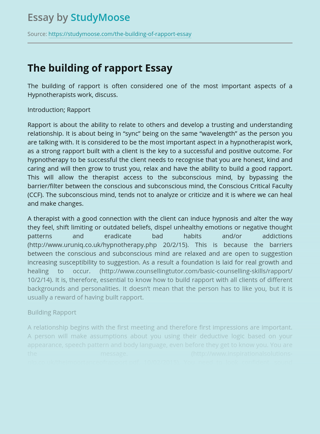 The building of rapport