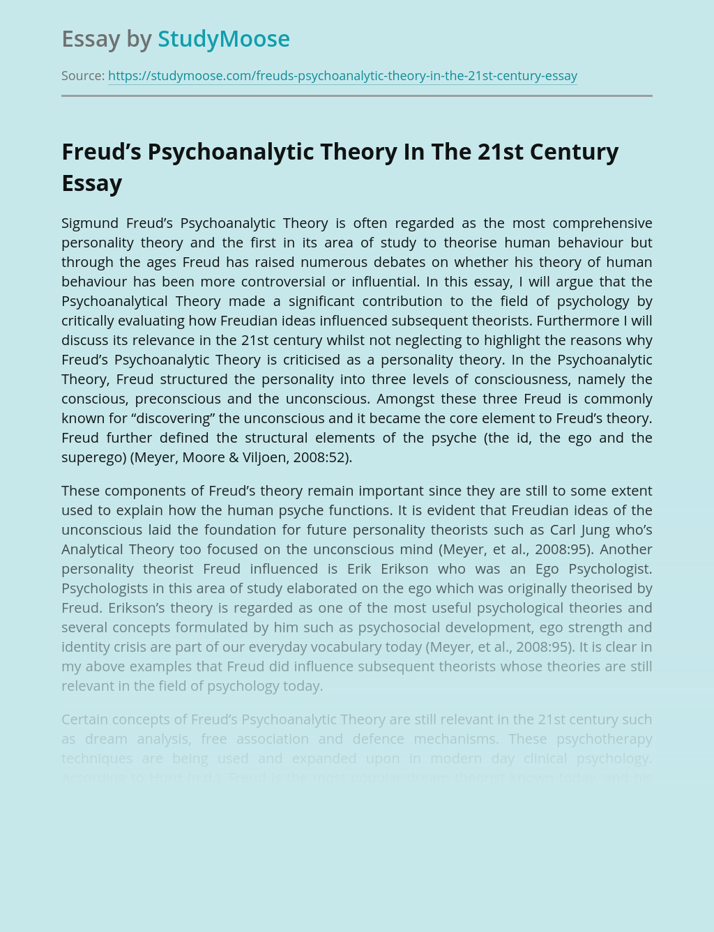 Freud's Psychoanalytic Theory In The 21st Century