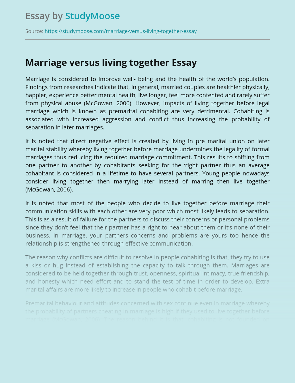 Marriage versus living together