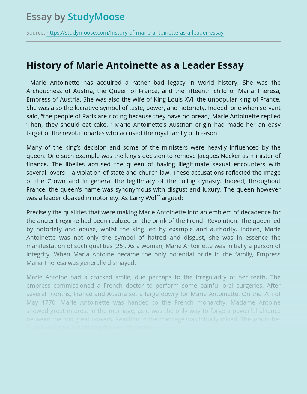 History of Marie Antoinette as a Leader