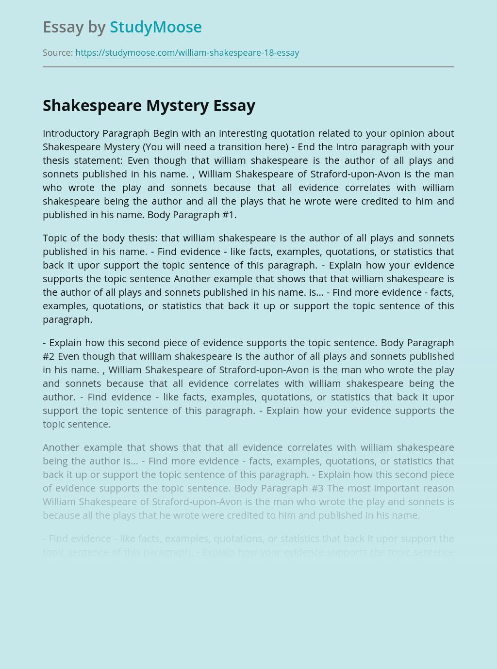 Shakespeare Mystery
